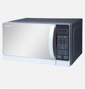 ميكروويف شارب سولو سعة 20 لتر، 800 وات لون سيلفر مزود ب 6 قوائم للطهي (R-20MR(S