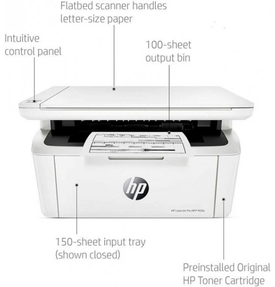 طابعة HP LaserJet Pro M28a أصغر طابعة متعددة الوظائف ، طباعة / مسح ضوئي / نسخ