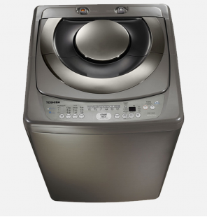 غسالة ملابس توشيبا فوق أوتوماتيك 10 كيلو مزودة بطلمبة لون سيلفر غامق AEW-9790SUP(DS)