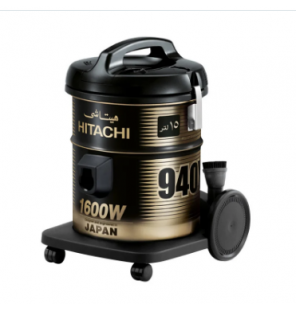 HITACHI Pail Can Vacuum Cleaner 1600 Watt In Black x Gold Color With Cloth Filter CV-940Y 220CE BK