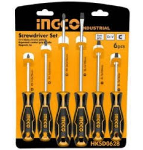 0608 Screwdriver set 6 pieces with insulating rubber handle