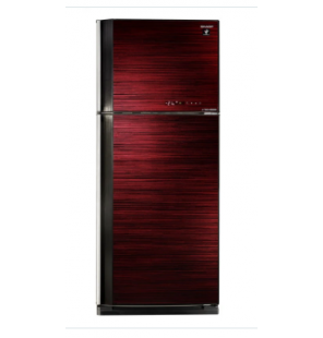 SHARP Refrigerator Inverter Digital No Frost 450 Liter, 2 Glass Doors In Red Color SJ-GV58A(RD)