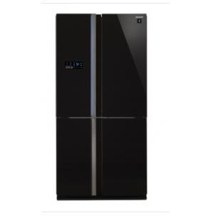 ثلاجة شارب ديجيتال نوفروست سعة 600 لتر ، 4 باب زجاجي لون أسود مزودة بتكنولوجيا البلازما كلاستر SJ-FS85V-BK