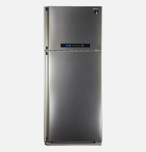 ثلاجة شارب ديجيتال نوفروست سعة 385 لتر ، 2 باب لون استانلس مزودة بتكنولوجيا البلازما كلاستر (SJ-PC48A(ST