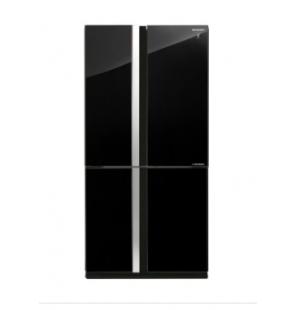 ثلاجة شارب انفرتر ديجيتال نوفروست متقدم سعة 605 لتر ، 4 باب زجاجي لون أسود ، تكنولوجيا البلازما كلاستر SJ-FS87V-BK