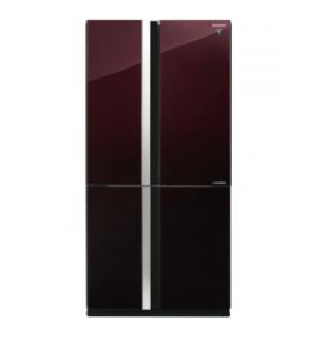 ثلاجة شارب انفرتر ديجيتال نوفروست متقدم سعة 605 لتر ، 4 باب زجاجي لون أحمر ، تكنولوجيا البلازما كلاستر SJ-FS87V-RD