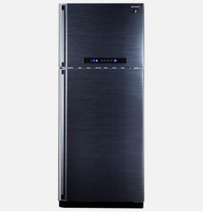 ثلاجة شارب ديجيتال نوفروست سعة 385 لتر ، 2 باب لون أسود مزودة بتكنولوجيا البلازما كلاستر (SJ-PC48A(BK
