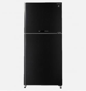 ثلاجة شارب انفرتر ديجيتال نوفروست سعة 480 لتر ، 2 باب زجاجي لون أسود مزودة بتكنولوجيا البلازما كلاستر SJ-GV63G-BK