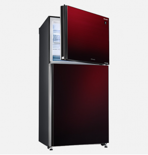 SHARP Refrigerator Inverter Digital No Frost 450 Liter , 2 Glass Doors In Red Color SJ-GV58G-RD