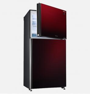 ثلاجة شارب انفرتر ديجيتال نوفروست سعة 538 لتر ، 2 باب زجاجي لون أحمر مزودة بتكنولوجيا البلازما كلاستر SJ-GV69G-RD
