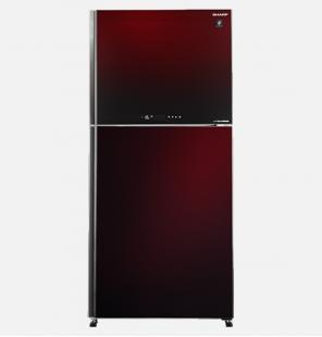 ثلاجة شارب انفرتر ديجيتال نوفروست سعة 480 لتر ، 2 باب زجاجي لون أحمر مزودة بتكنولوجيا البلازما كلاستر SJ-GV63G-RD